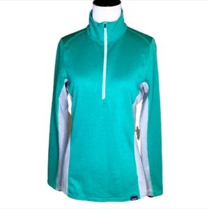Patagonia Teal & Gray 1/4 Zip Pullover Small